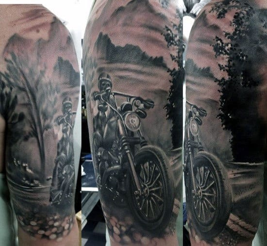 Half Sleeve Open Road Biker Guys Tattoo Inspiration