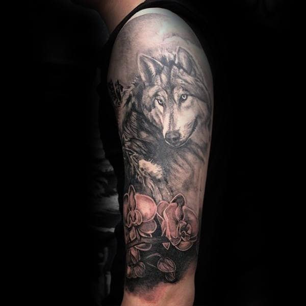 Half Sleeve Orchid And Wolf Mens Tattoo Ideas