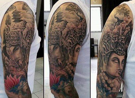Half Sleeve Ornate Ganesh Tattoos For Guys