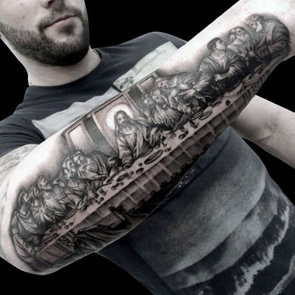 Half Sleeve Outer Forearm Male Last Supper Tattoo Design