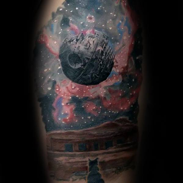 Half Sleeve Outer Space Night Sky Death Star Mens Tattoo Ideas