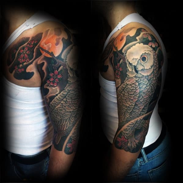 Half Sleeve Owl Tattoo On Gentleman