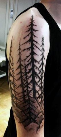 Half Sleeve Pine Tree Tattoos For Men