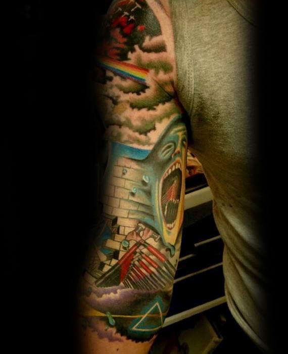 Half Sleeve Pink Floyd Tattoo Designs On Gentleman