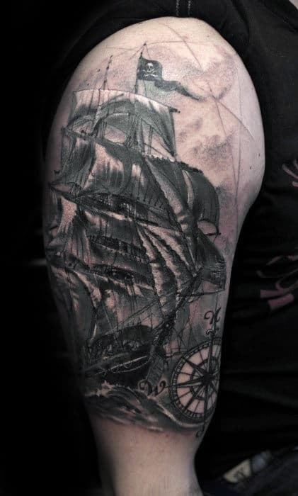 Half Sleeve Pirate Flag Nautical Themed Mens Tattoos