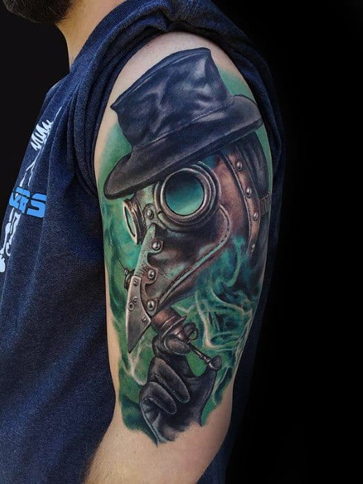 Half Sleeve Plague Doctor Tattoos Guys