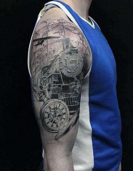 Half Sleeve Plane Wings Tattoo For Men