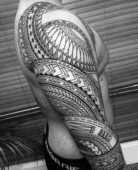 Half Sleeve Polynesian Male Sick Tribal Tattoos