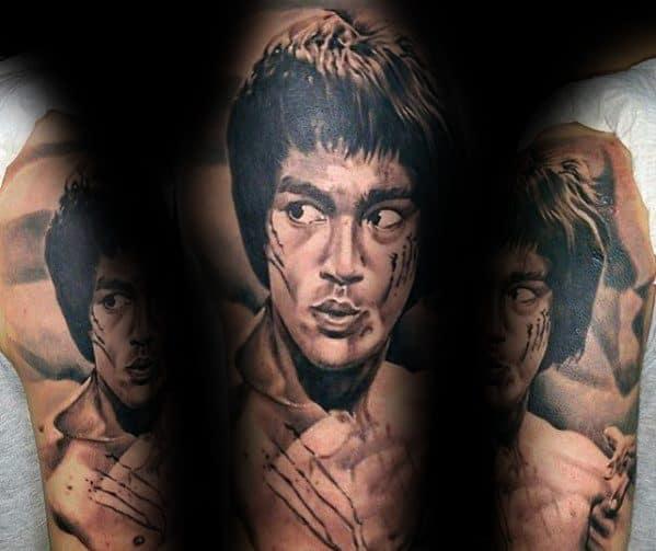 Half Sleeve Portrait Of Bruce Lee Tattoo Ideas On Guys
