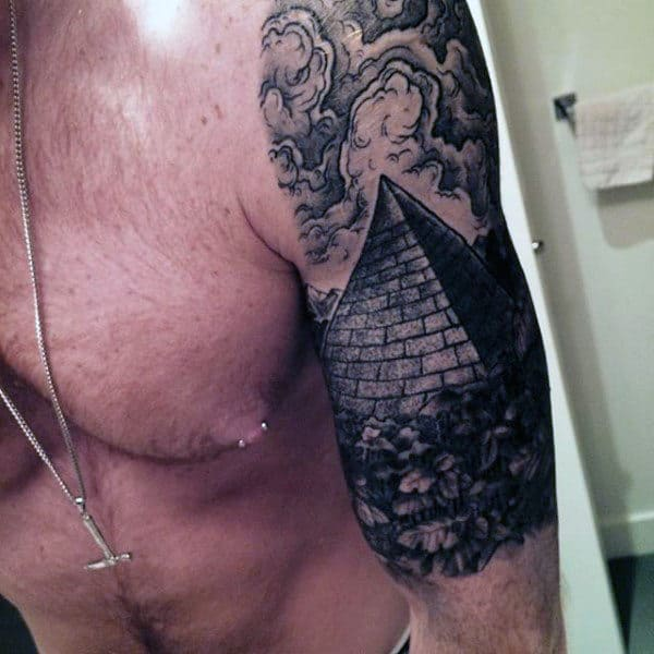 Half Sleeve Pyramid With Clouds Shaded Male Tattoo