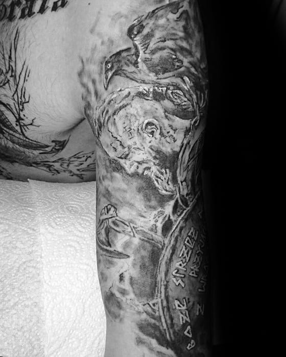 Half Sleeve Ragnar Mens Tattoo Ideas