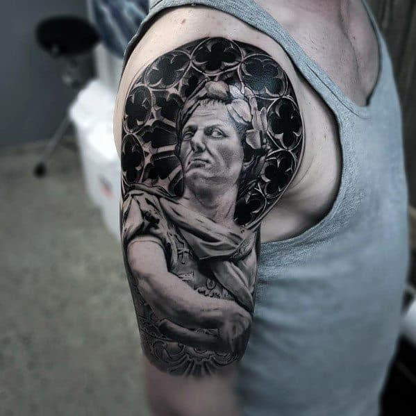 Half Sleeve Realistic Guys Tattoos With Roman Statue Design