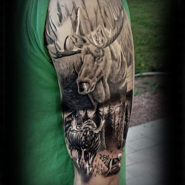 Half Sleeve Realistic Moose Nature Tattoos For Men