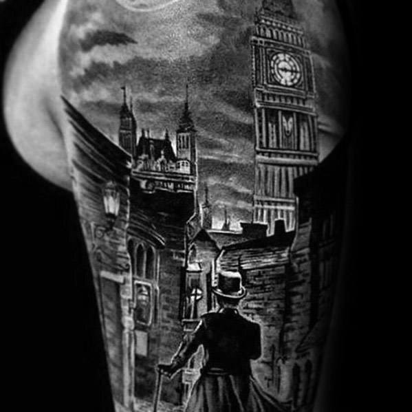 Half Sleeve Realistic Sherlock Holmes Tattoo Design Ideas For Males