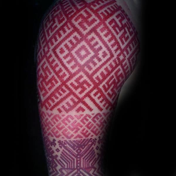 Half Sleeve Red Ink Patterned Tattoos Men