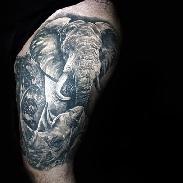 Half Sleeve Rhino Elephant Tattoos For Men