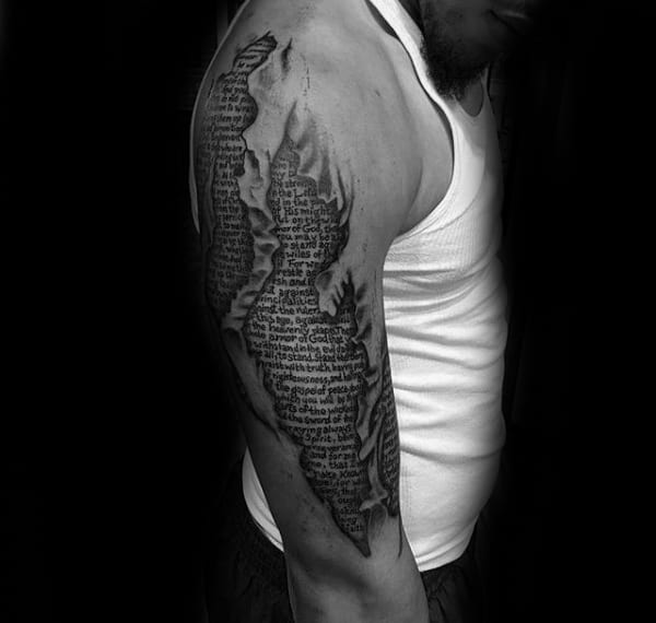 Half Sleeve Ripped Skin Tattoos Of Scriptures On Guys With 3d Design