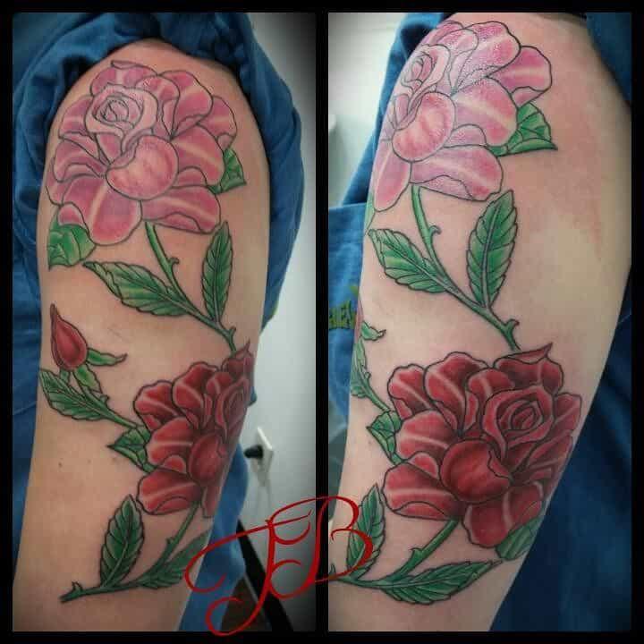 half sleeve rose sleeve tattoos 2 inkedbytim