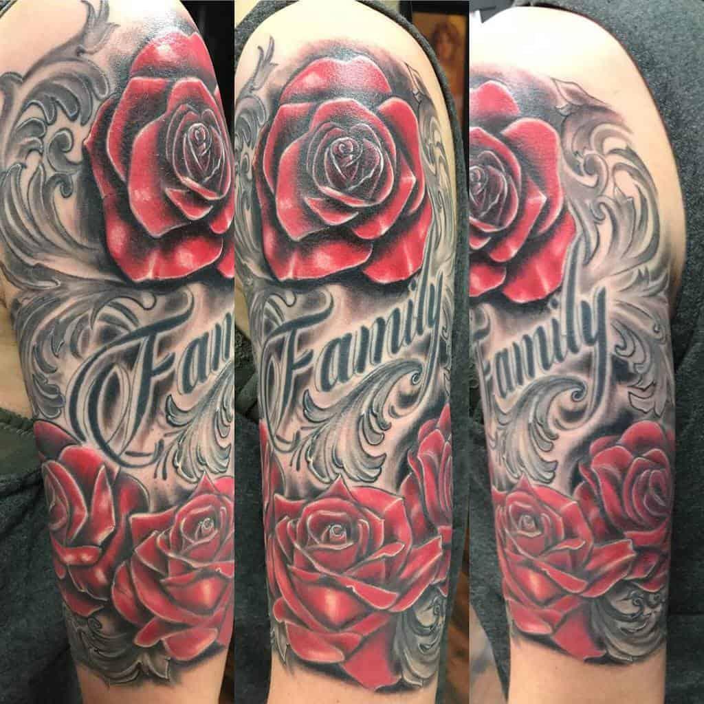 half sleeve rose sleeve tattoos inkdsocietytattooparlor1