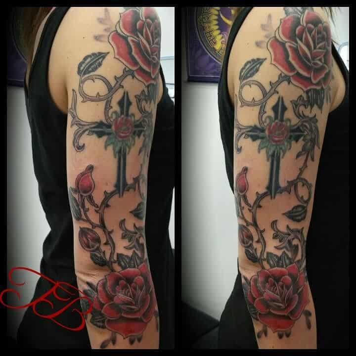 half sleeve rose sleeve tattoos inkedbytim