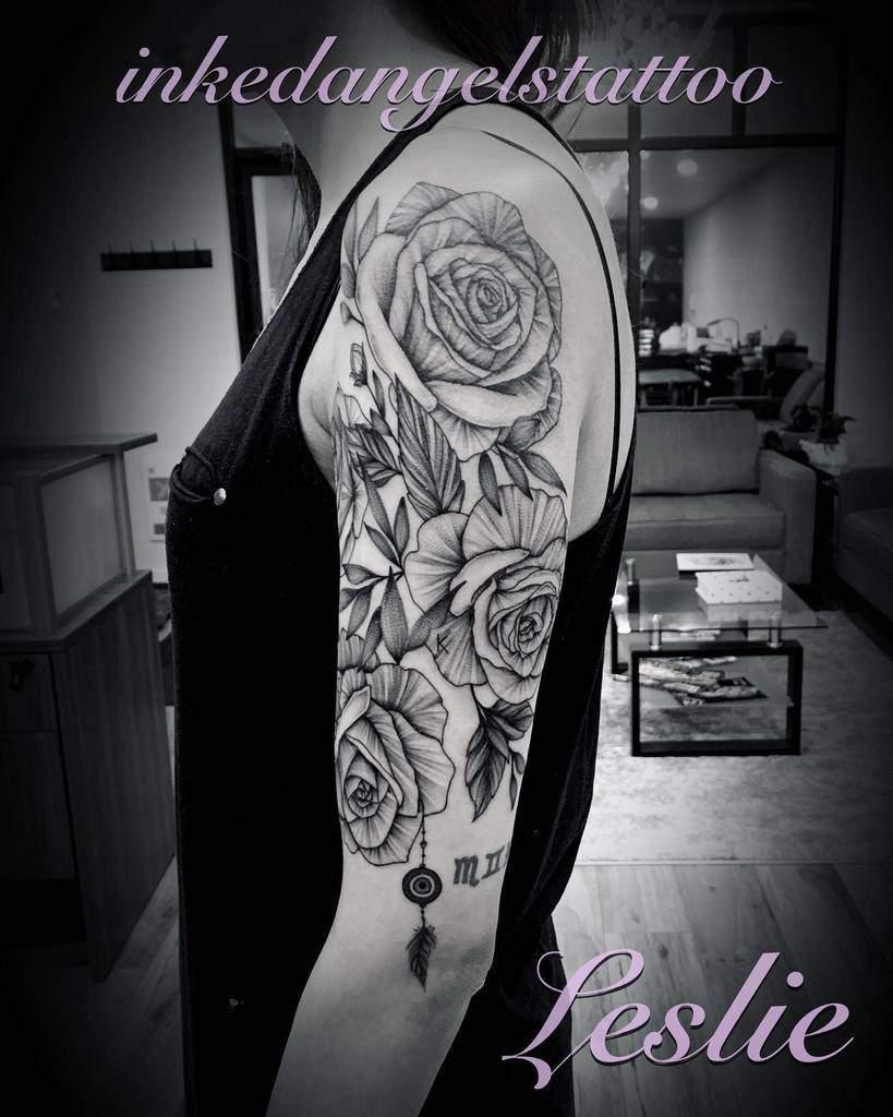 half sleeve rose sleeve tattoos leslie_inkedangelstattoo