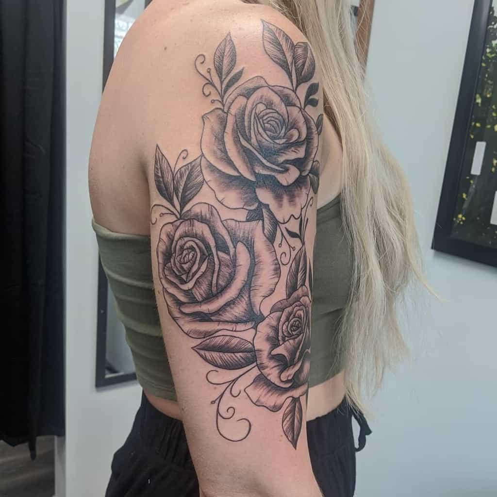 half sleeve rose sleeve tattoos megan_paige_tattoos