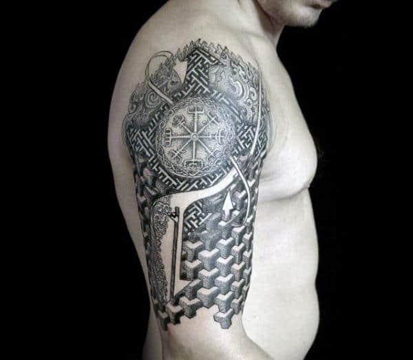 Half Sleeve Rune Pattern Geometric Guys Tattoos