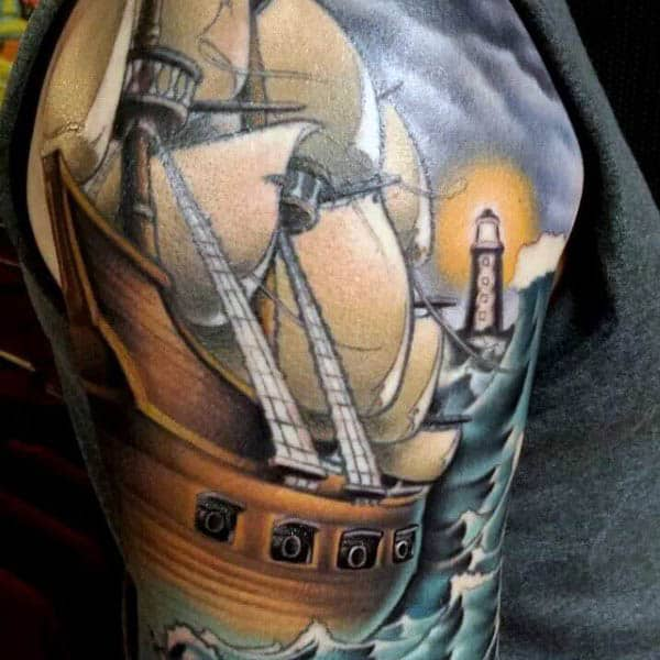 Half Sleeve Sailboat Tattoo For Men In Color
