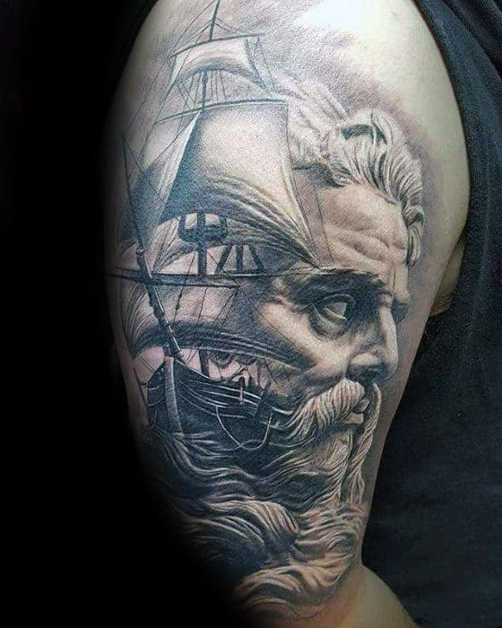 Half Sleeve Sailing Ship Morph Mens Tattoo Ideas