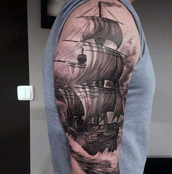 Half Sleeve Sailing Ship Rad Tattoo Design Ideas For Males