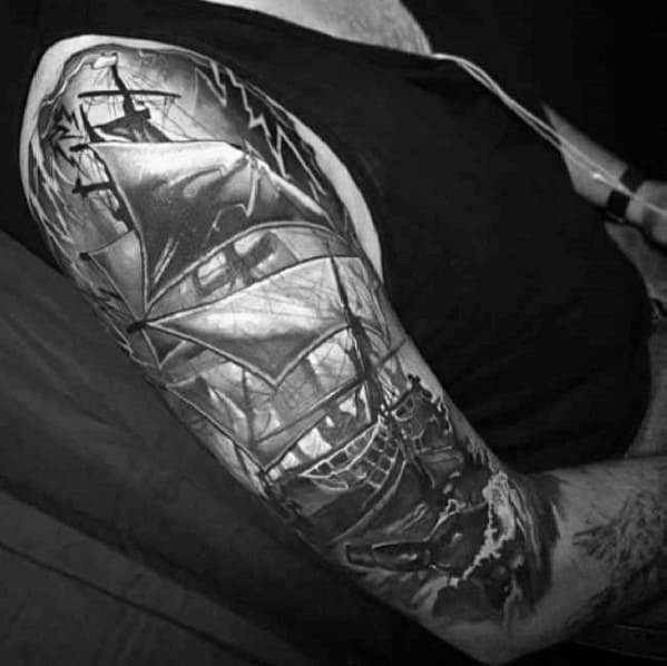 Half Sleeve Sailing Ship Shaded Message In A Bottle Mens Tattoo Ideas