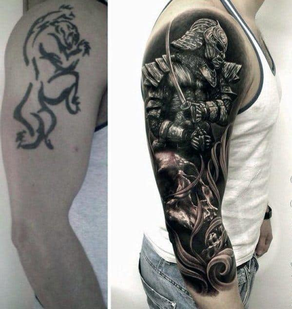 Half Sleeve Samuari Warrior Awesome Tattoo Cover Up Ideas For Men