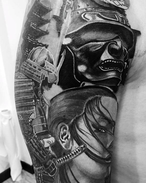 Half Sleeve Samurai Helmet Tattoo For Gentlemen