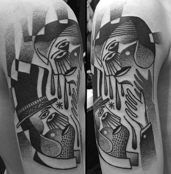 Half Sleeve Shaded Black And Grey Cubism Tattoos Guys