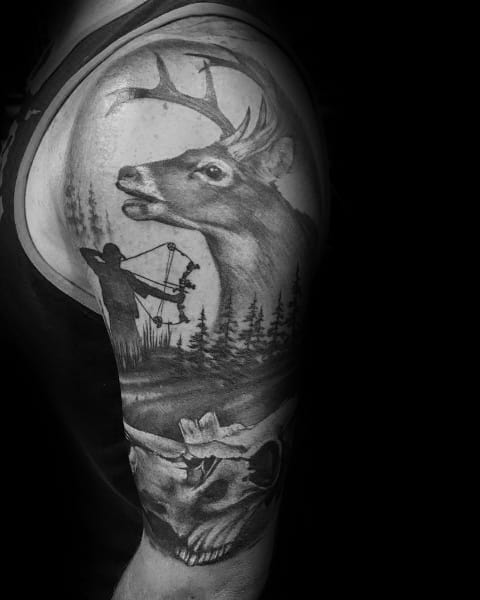 Half Sleeve Shaded Black And Grey Ink Mens Bowhunting Tattoo
