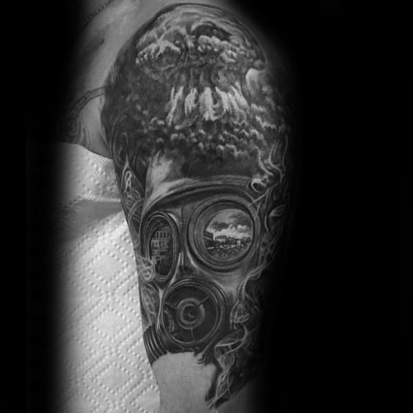 Half Sleeve Shaded Gas Mask Mushroom Cloud Male Tattoos