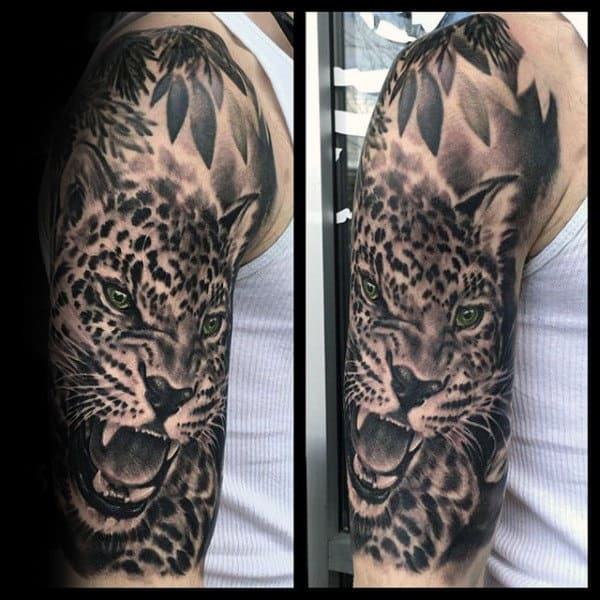 Half Sleeve Shaded Leopard Tattoos For Males