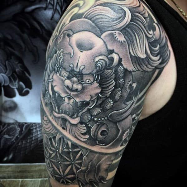 Half Sleeve Shishi Foo Dog Mens Tattoo Ideas