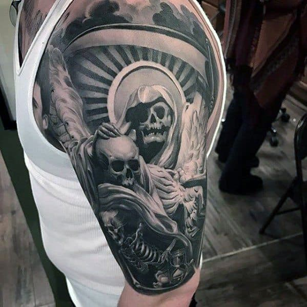 Half Sleeve Skull And Skeleton Mens Unique Tattoo Design Ideas