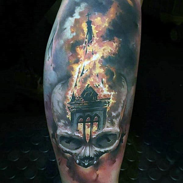 Half Sleeve Skull Building Flames Mens Tattoos