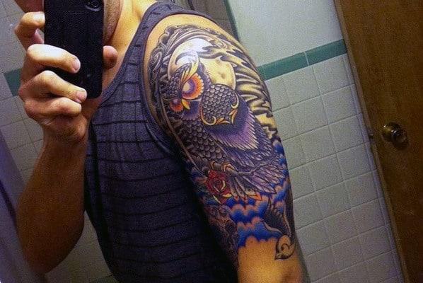 Half Sleeve Color Owl Tattoos For Men