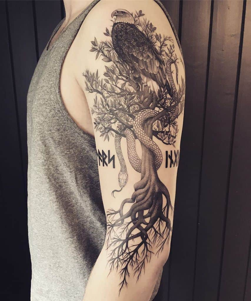 half sleeve snake eagle tree yggdrasil tattoo