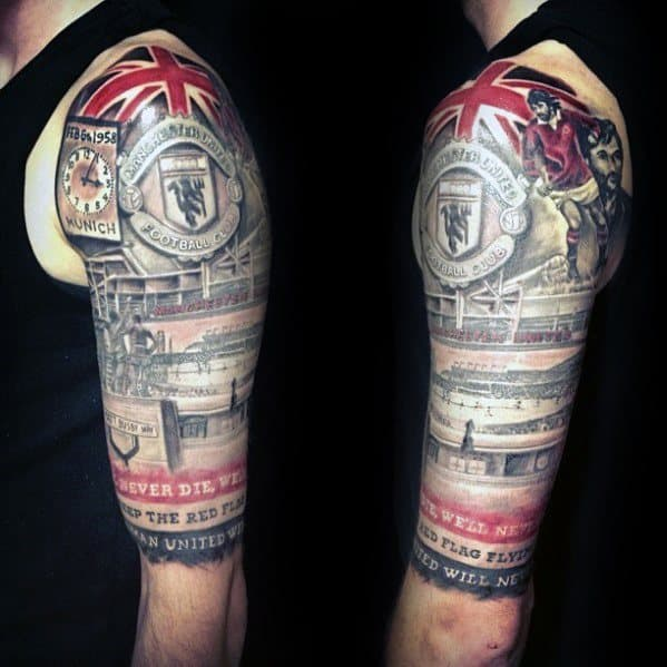 Half Sleeve Soccer Themed Manchester United Tattoos For Males
