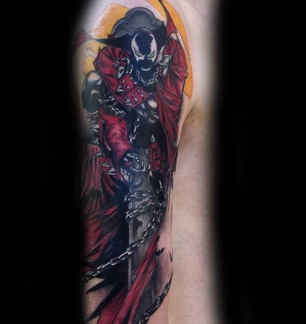 Half Sleeve Spawn Male Tattoo Designs