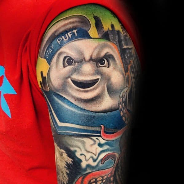 Half Sleeve Stay Puft Mens Ghostbusters Tattoo