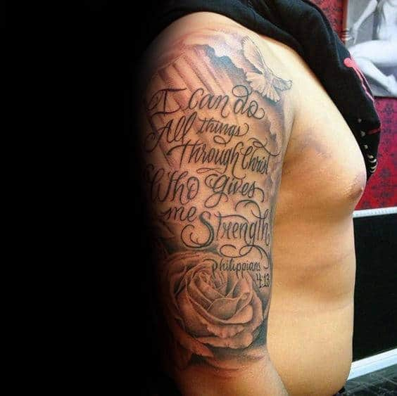 Half Sleeve Strength Religious Quote Mens Tattoo