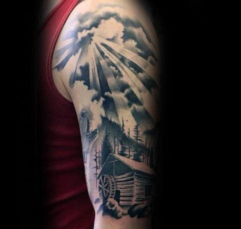 Half Sleeve Sun Rays And Cabin Guys Tattoo Ideas