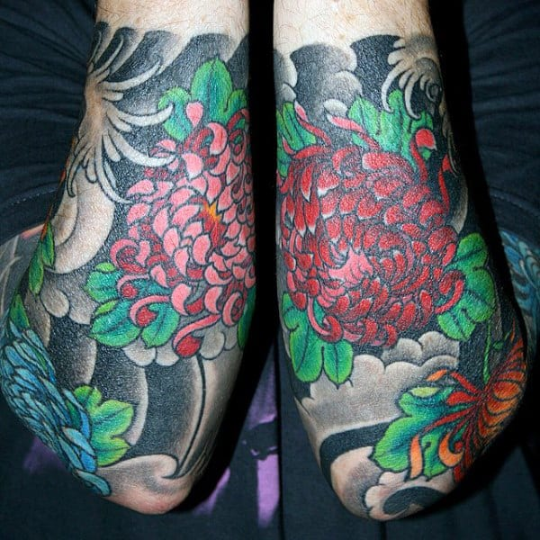 Half Sleeve Tattoo Designs For Men Forearm Japanese Flowers