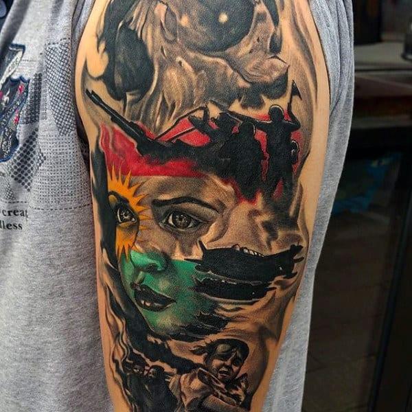 Half Sleeve Tattoo Ideas Military For Guys