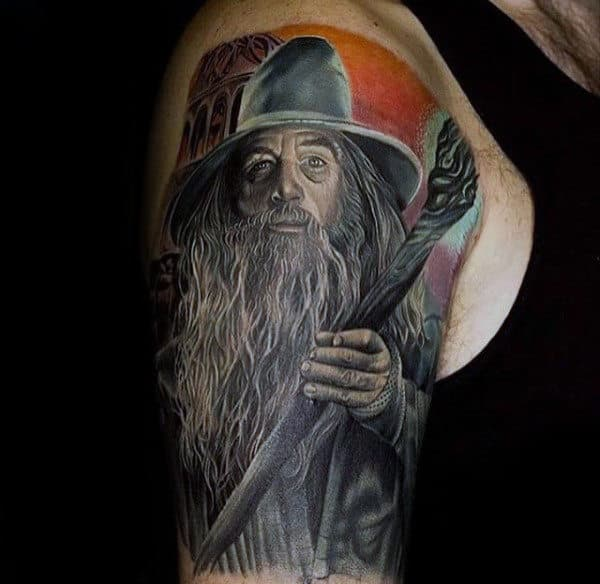Half Sleeve Tattoo Of Gandalf Form Lord Of The Rings For Men